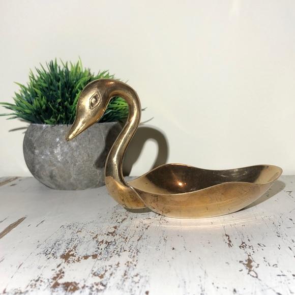 Brass Swan Trinket Dish